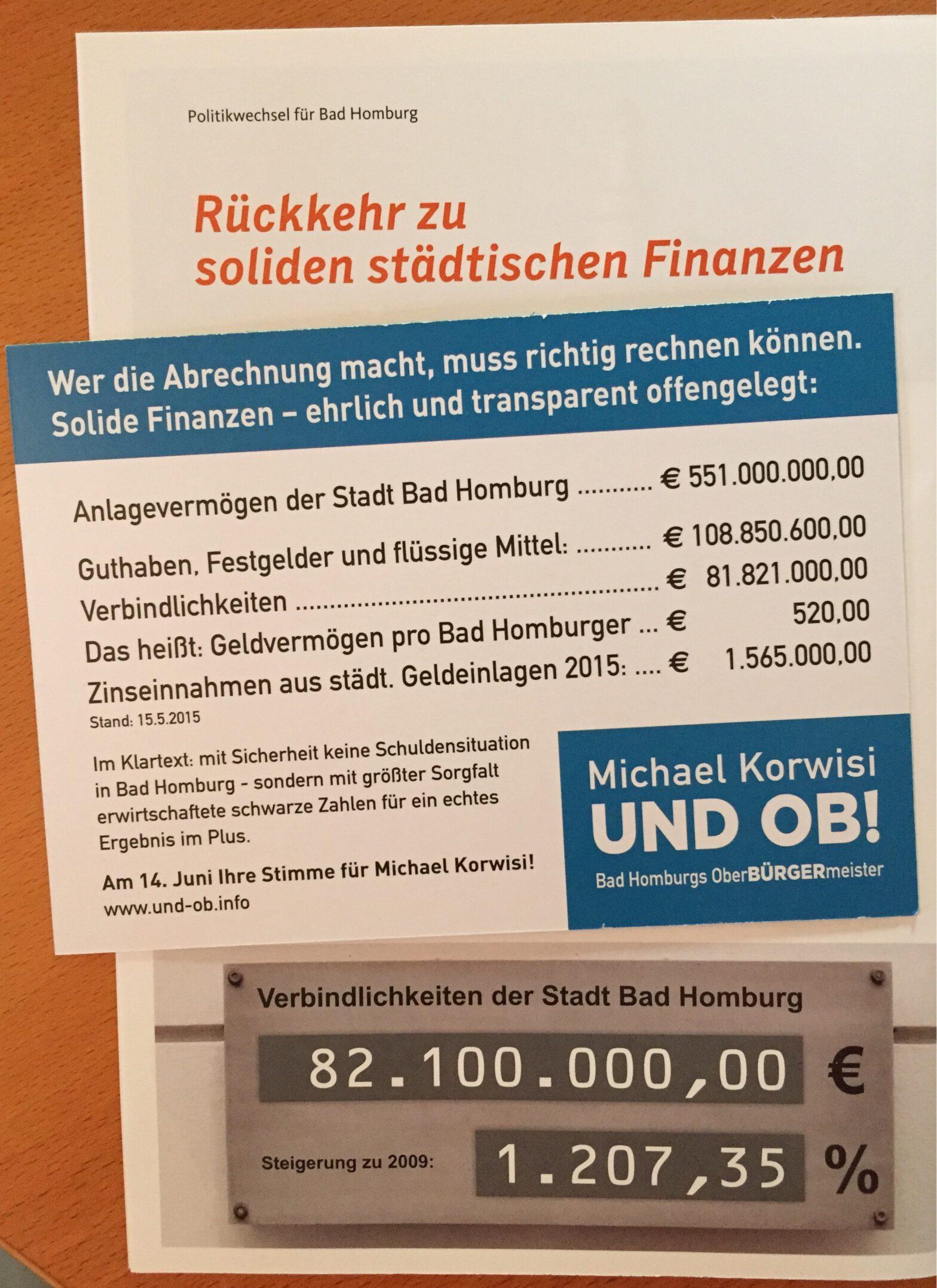 Foto: Wahlkampfunterlagen Korwisi (Postkarte im Vordergrund) / Hetjes (Broschüre im Hintergrund) zur Oberbürgermeisterwahl 2015.